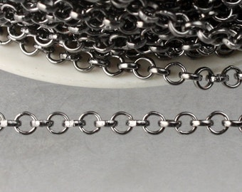 Gunmetal Rolo Chain bulk, 32 ft of Rolo Cable Chain 3.2mm - Unsoldered Links - Necklace Bracelet Wholesale Bulk Jewerly Chain