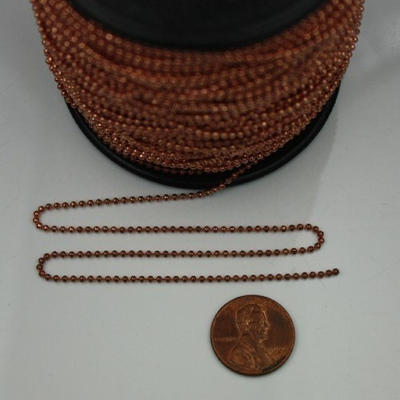 10 ft. of Antique copper finished brass ball chain - 1.5mm ball size