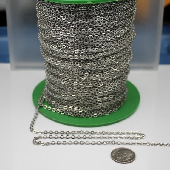 32 ft Rhodium Flat Cable Chain - 3.4x2.9mm SOLDERED Link - Antique Silver Bulk Flat Soldered Cable Chain