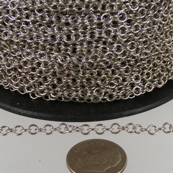 12 ft. spool of Rhodium Plated ROUND Cable Chain - 3.2mm Unsoldered Link
