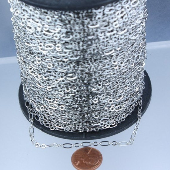 Rhodium Chain Bulk Chain, 300 ft of ( 3 and 1 ) Long and Short Chain Flat Cable Chain Necklace Brass Chain 6.3 N 4mm - SOLDERED Links