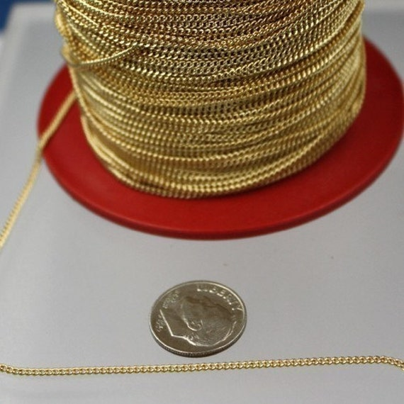 10ft. spool of gold plated SOLDERED little curb chain - 1.3mm SOLDERED link