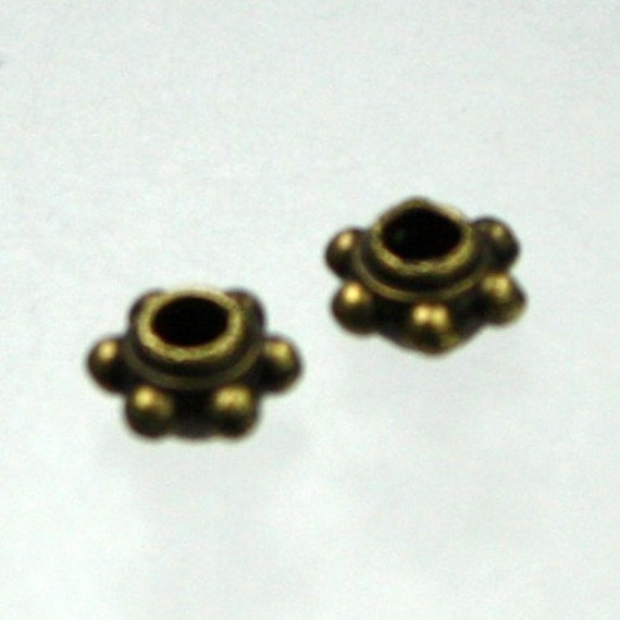 100 pcs of antique brass little Bali style spacer - 5.7x3.2mm