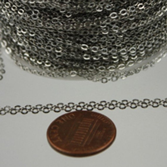 32 ft Antique Silver Chain - 2.4x1.7mm SOLDER Chain - Rhodium Plated little Oval Flat Soldered Cable Chain - Bulk Wholesale Chain - from USA