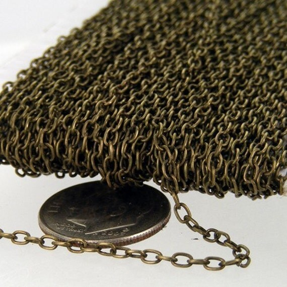 50 ft spool of Antique Brass Finished Round cable chain - 3.0x2.0mm - unsoldered link