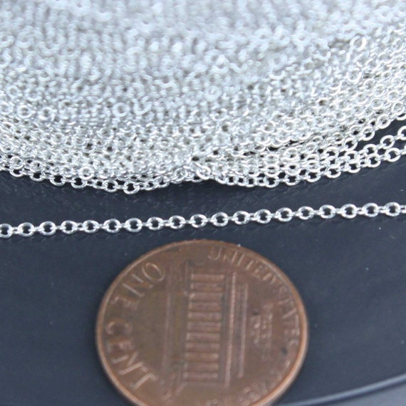 10 ft. of 925 Sterling Silver Tiny Round Cable Chain - 1.6x1.2mm