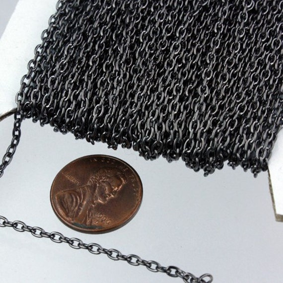 SALE Sale 100 ft spool of Gunmetal Finished Oval Round cable chain - 3x2.2mm - unsoldered link