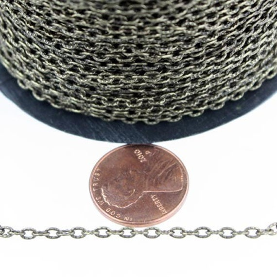 Antique Bronze Texture Chain Bulk, 50 ft. of Antique Brass Flat Texture Oval Chunky Cable Chain - 3x2mm Unsoldered - Necklace Bracelet Chain