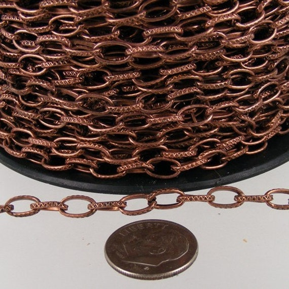 Antique Copper Chain Bulk Chain, 5 ft. Textured Antique Copper finished Drawn oval Cable chain - 9x4.5mm unsoldered link