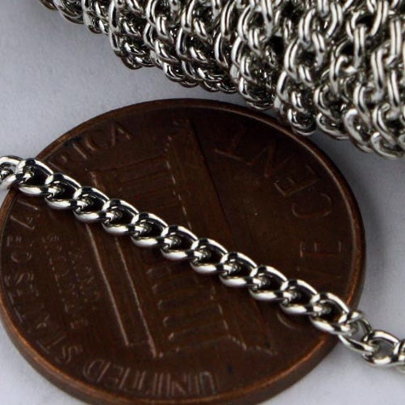 SALE Sale 32ft of Antique Silver Rhodium Plated Curb chain - 2.2mm - Unsoldered Links