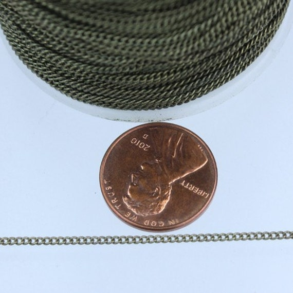 32 ft spool of Antique Brass Finished over brass tiny curb chain - 1.3mm soldered link