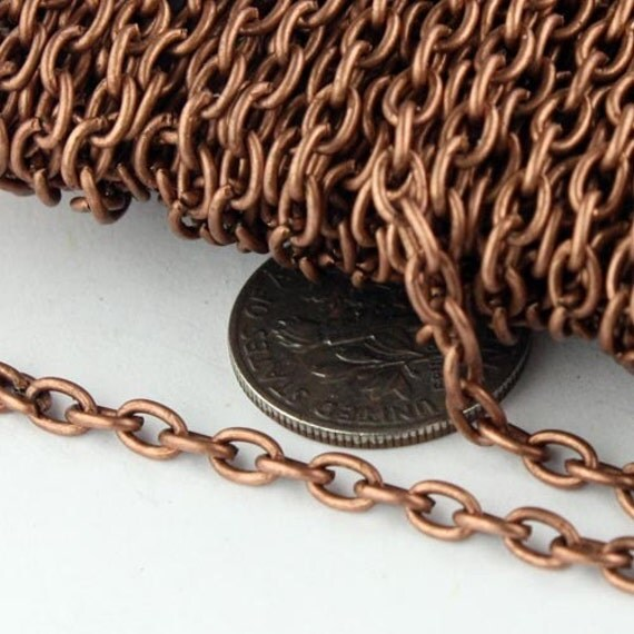 10 ft Antique Copper Cable Chain - 4x5mm 19 Gauge (0.9mm) Unsoldered Link - Heavy Strong Cable Chain Bulk Wholesale Chain - from USA