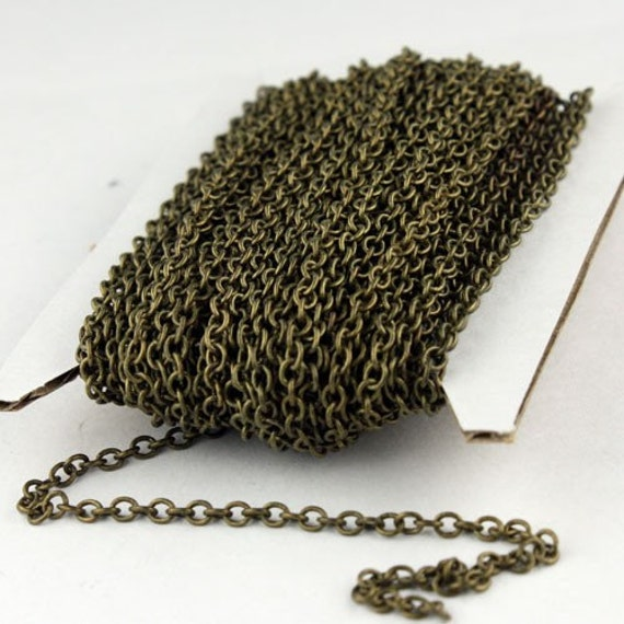 32 ft. of Antique Brass Finished SOLDERED Cable Chain - 3.2x2.8mm SOLDERED LInk