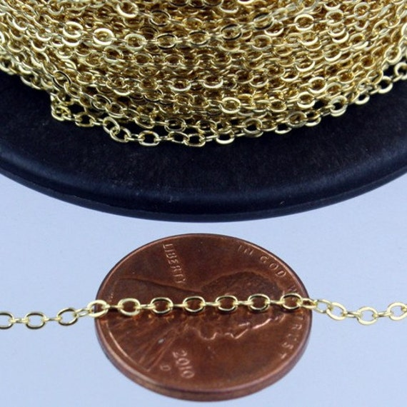 1000 ft Gold Plated Chain - 2.4x1.7mm SOLDER Cable Chain - little Oval Flat Soldered Cable Chain - Bulk Wholesale Chain -from California USA