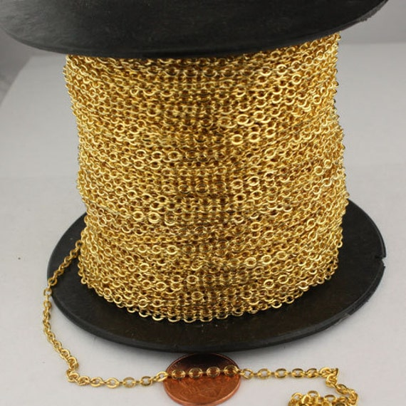 Sample 3 ft spool of Gold Finished Flat SOLDERED Cable Chain - 3.4x2.9mm SOLDERED Link