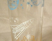 Vintage Space Age Rocket Ship & PlanetsTumbler Drinking Glass,  ca. 1950s-60s