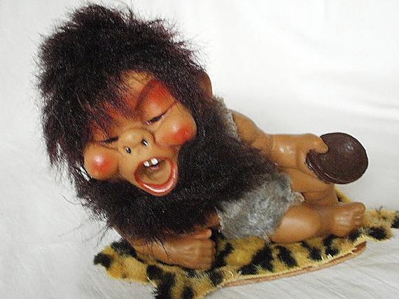Wild Vintage 50s-60s Herman Pecker Cave Man Doll on Faux Tiger Skin Rug