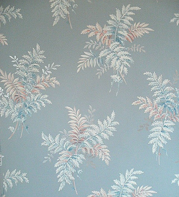 Roll of Vintage 1940s - 50s Fern Fronds White, Salmon, Pale Blue