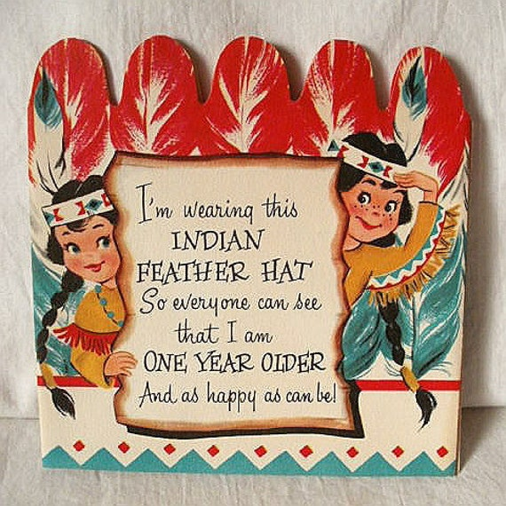 Vintage Native American Indian Cartoon Theme Birthday Card For