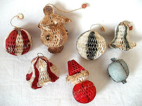 RESERVED FOR DONNA 7 Vintage 1950s Paper Christmas Ornaments, Honeycomb, Santa