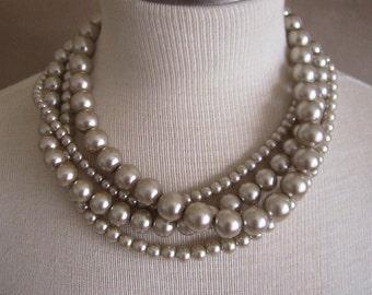 Midnight Lotus Flower - Swarovski Pearl Necklace