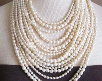SPECIAL ORDER: Fouquet -- 15-Strand Freshwater Pearl statement necklace
