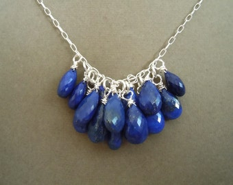 Midnight Stars -- Lapis Cluster Necklace