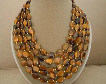 Stefana -- Multi Strand Tigers Eye necklace