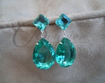 Pool -- Green Large Crystal Drop Earrings in Gold or Silver Settings