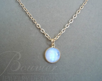 Angel Eyes -- Rainbow Moonstone Domed necklace