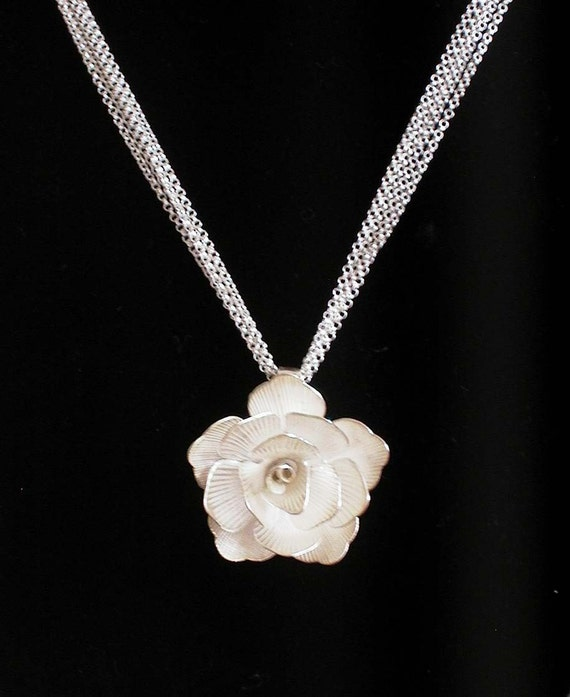 Baby Rose -- Sterling Silver Sculpted Rose Multi Strand necklace