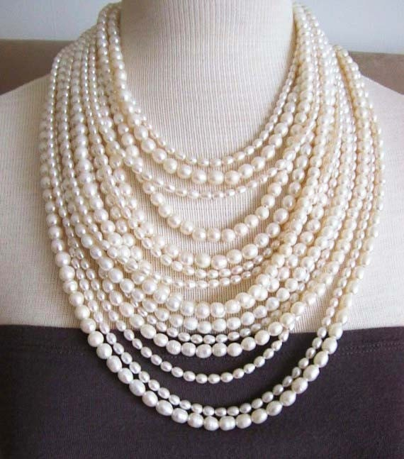 Fouquet -- 15-Strand South Seas Pearl statement necklace