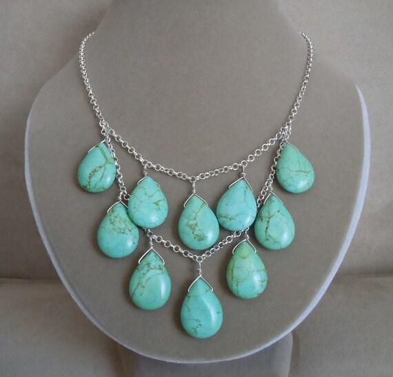LAST ONE -- Fiori di Capri -- Genuine Turquoise Puffed Briolette bib necklace