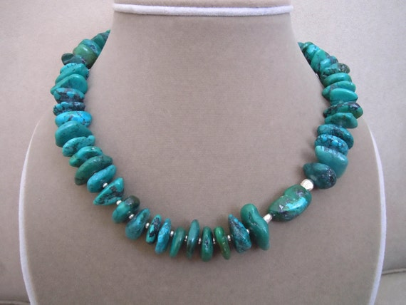 NEW MARKDOWN: Forest Path -- Dark Green Turquoise and Sterling Silver necklace