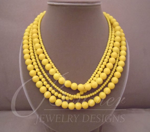 NEW MARKDOWN Sunshine -- Yellow Crystal pearl necklace