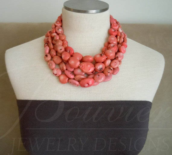 LAST ONE -- Palau necklace -- Pink Coral nugget Necklace