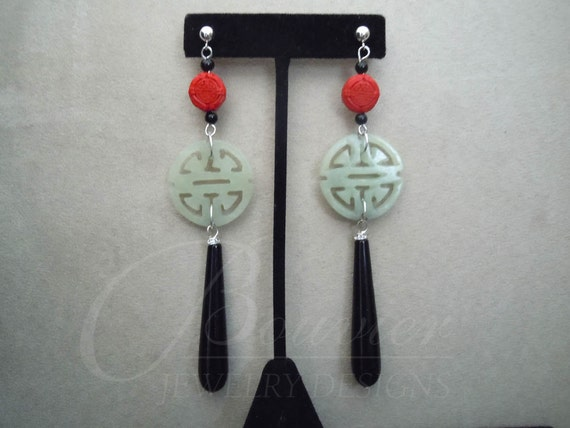 LIMITED QTY -- Orient Express -- Red Cinnabar, Green Jade, and Black Onyx earrings