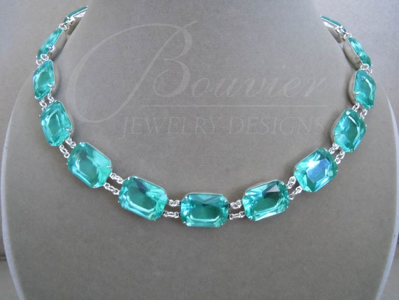 NEW Special Order -- Atlantis -- Clear Pool Blue-Green Large Crystal Necklace in Silver Settings