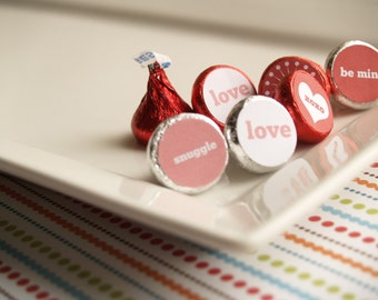 As seen on The Huffington Post.....PRINTABLE DIY candy kiss stickers for Valentine's Day