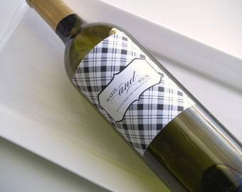 DIY Printable wine bottle label for any event in black and white plaid pattern