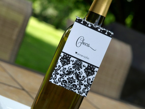 NEW DIY Custom Damask Wine tags for any occasion and in any color Classic Damask Design