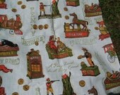 A Penny Saved is a Penny earned Vintage Fabric With Antique Banks free shipping