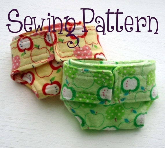 Doll diaper pattern now with two sizes - PDF file