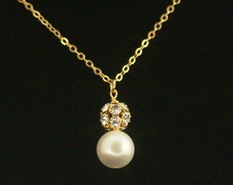 Bridal Necklace, Rhinestone Pearl Necklace, Gold Wedding Jewelry, Bridesmaid Necklace, Swarovski Crystal Rhinestone Wedding Necklace -- VERA