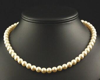 Pearl Bridal Necklace Classic Gold Wedding Jewelry Swarovski Crystal Cream Pearl Single Strand Bridesmaids Bridal Party-- GRACE