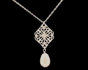 Filigree Wedding Necklace -- Bridal Jewelry, Silver Filigree and Swarovski Crystal Teardrop Pearl Pendant -- TRELLIS