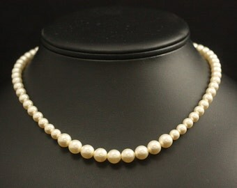 Gold Pearl Necklace, Pearl Bridal Necklace, Wedding Jewelry, Strand, Ivory Cream Pearl Wedding Necklace, Bridal Jewelry -- SAVANNAH