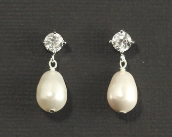 Pearl Drop Bridal Earrings --  Silver Cubic Zirconia Studs Posts, Pearl Teardrop Wedding Earrings, Drop Pearl Wedding Bridal Jewelry -- LUXE