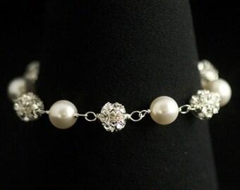 Rhinestone Pearl Bracelet in Silver  -- Rhinestone and Pearl Bridal Bracelet, Bridesmaids Bracelet, in all Swarovski -- VERA