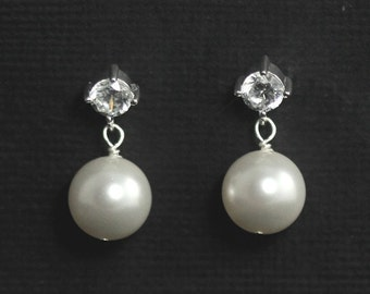 Pearl Wedding Earrings, Bridal Pearl Earrings, Pearl Studs, Posts, Bridal Jewelry, Sterling Silver Cubic Zirconia Earrings - LUXE II